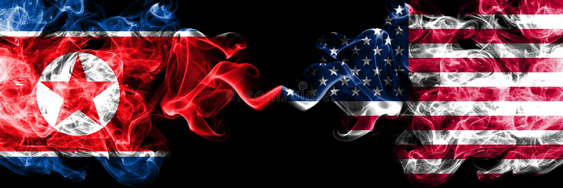 Корейская Северная Корея против Соединенных Штатов Америки, американские закоптелые мистические флаги установила сторону - - стор бесплатная иллюстрация