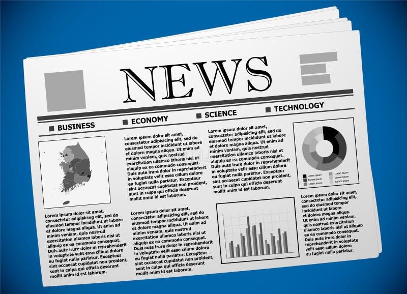 Корейские дело и экономика на газете иллюстрация вектора