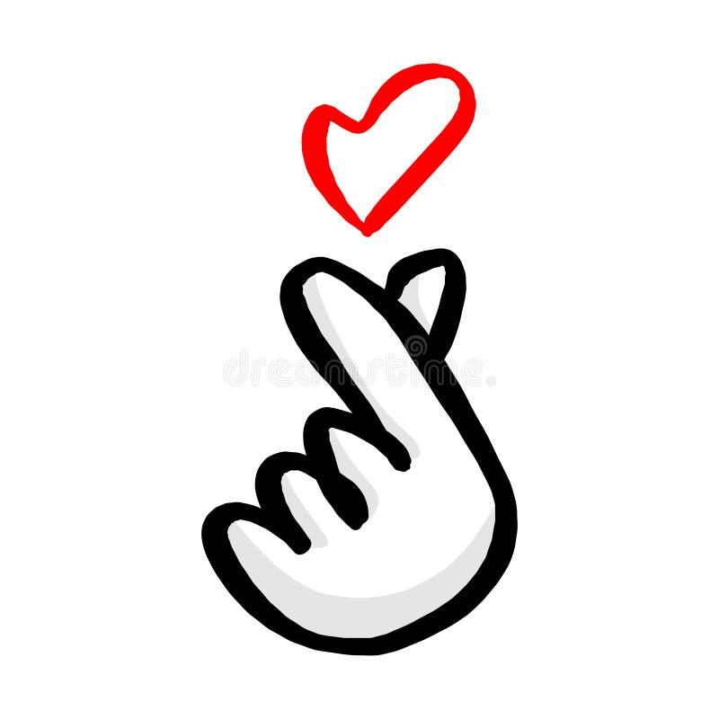 Корейский символ сердца руки с красным sket иллюстрации вектора сердца иллюстрация вектора