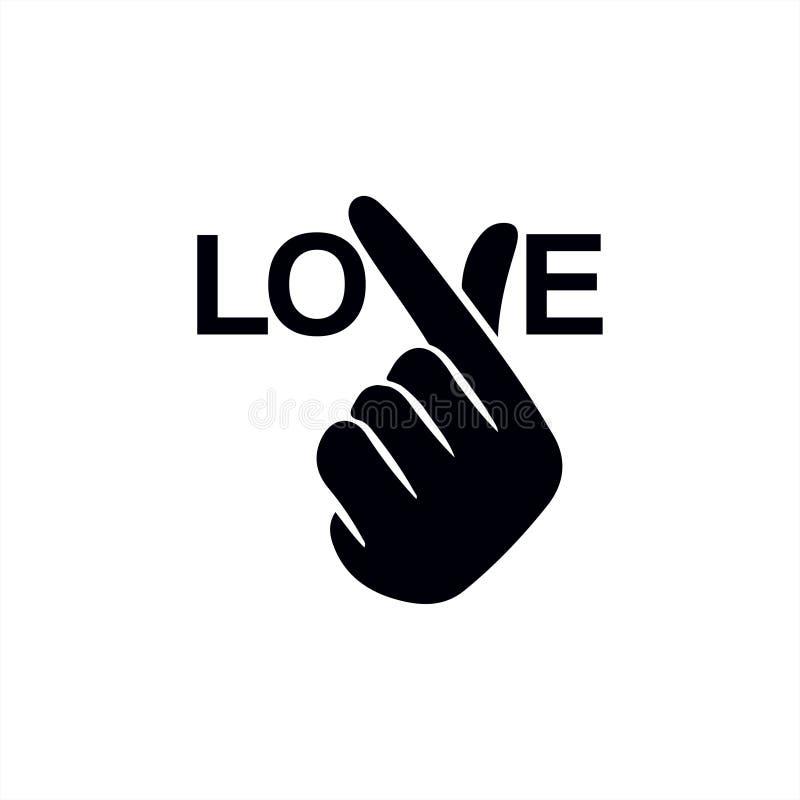 """Корейское сердце """"я тебя люблю """"иллюстрация пальца вектора Hangul Корейское сердце руки символа, сообщение жеста рукой любов Знач иллюстрация штока"""