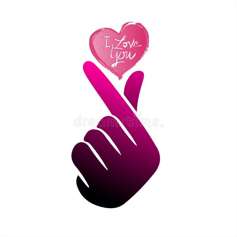 """Корейское сердце """"я тебя люблю """"иллюстрация пальца вектора Hangul Корейское сердце руки символа, сообщение жеста рукой любов Знач иллюстрация вектора"""