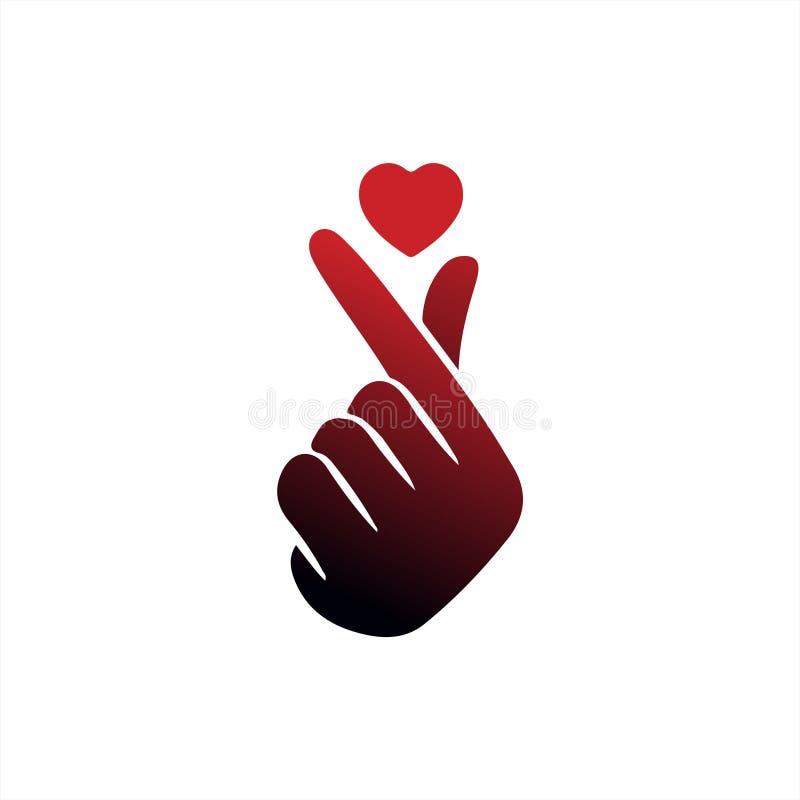 """Корейское сердце """"я тебя люблю """"иллюстрация пальца вектора Hangul Корейское сердце руки символа, сообщение жеста рукой любов Знач бесплатная иллюстрация"""