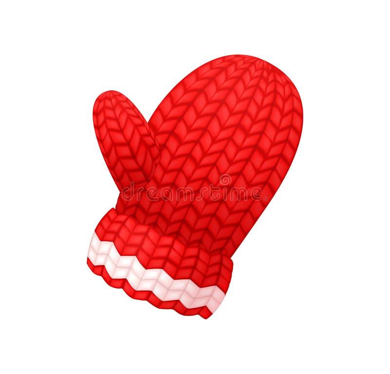 Коренастая связанная перчатка в красном и белом векторе цвета иллюстрация вектора