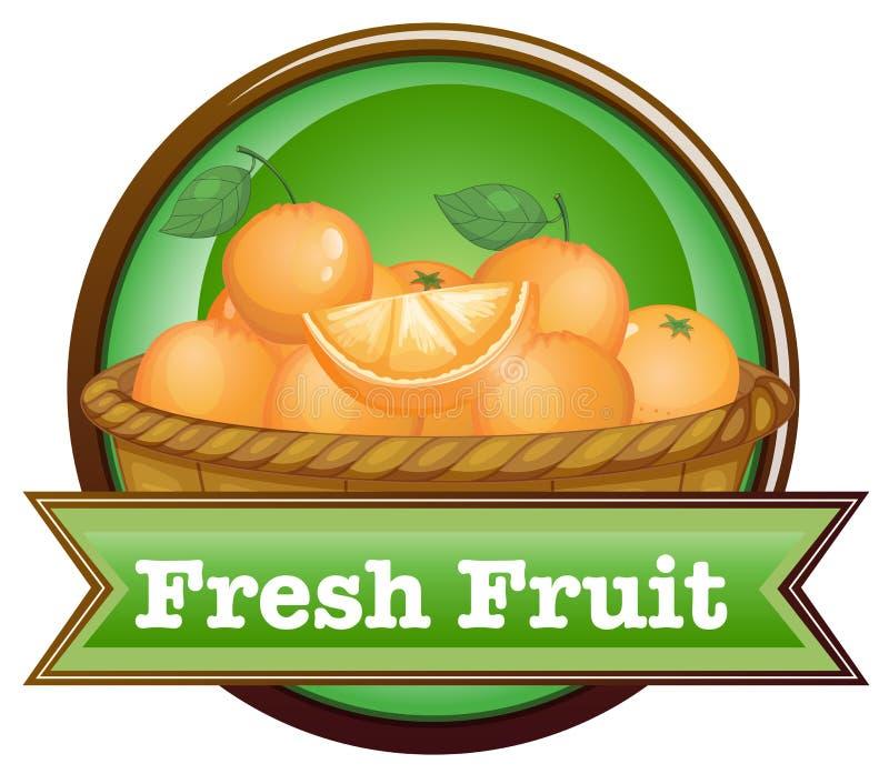 Корзина апельсинов с ярлыком свежих фруктов иллюстрация вектора