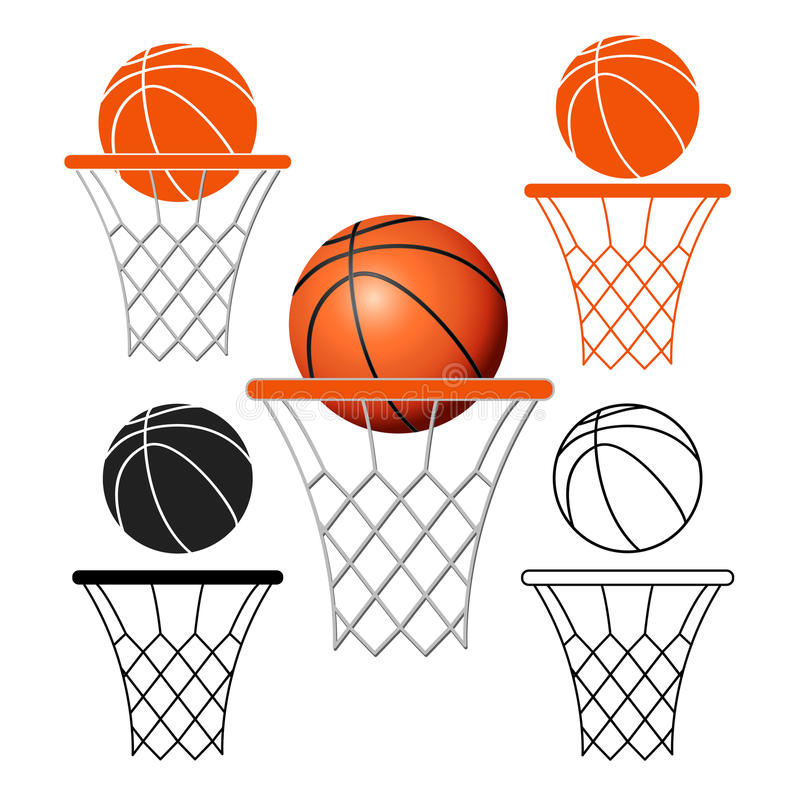 Корзина баскетбола, обруч, шарик на белой предпосылке иллюстрация вектора