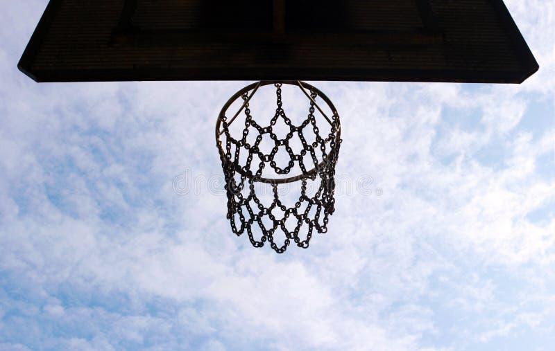 Корзина баскетбола увиденная снизу, голубое и белое небо стоковые фото