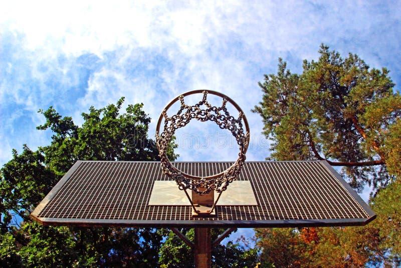 Корзина баскетбола увиденная снизу стоковое изображение