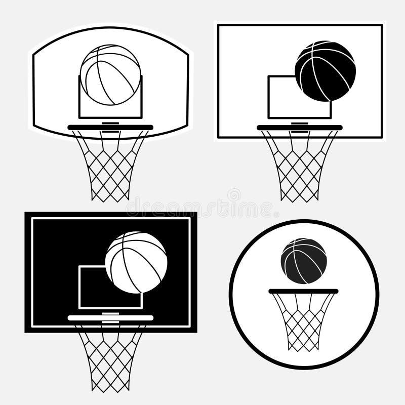 Корзина баскетбола черная, обруч, шарик на белой предпосылке иллюстрация вектора