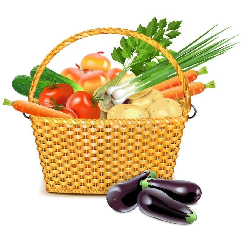 Корзина вектора плетеная с овощами иллюстрация вектора