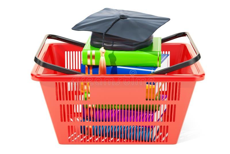 Корзина для товаров с крышкой градации и книгами, оплатой для educatio иллюстрация вектора