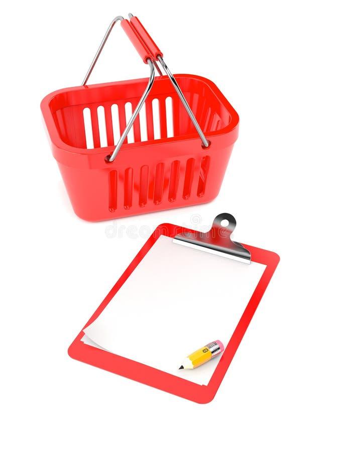 Корзина для товаров с пустыми доской сзажимом для бумаги и карандашем иллюстрация штока