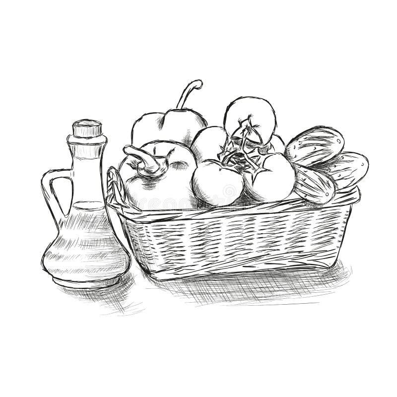 Корзина еды с овощами вручает вычерченную иллюстрацию вектора иллюстрация штока