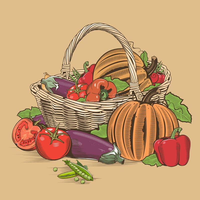 Корзина овощей бесплатная иллюстрация