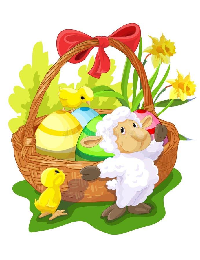 Корзина пасхи с овцами и цыплятами иллюстрация вектора