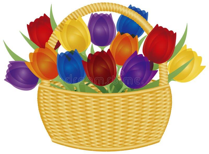 Корзина пасхи с цветастой иллюстрацией тюльпанов иллюстрация вектора