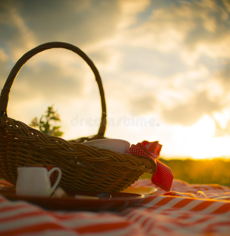 Корзина пикника в луге стоковое изображение rf