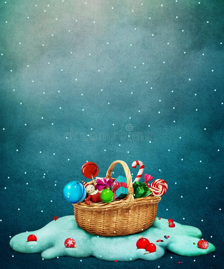 Корзина подарка рождества иллюстрация вектора