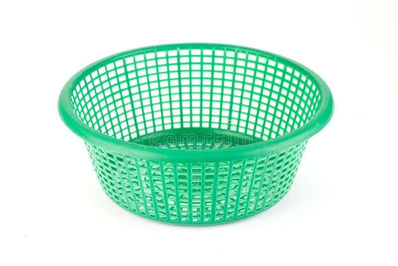 Корзина пластмассы зеленого цвета стоковая фотография rf