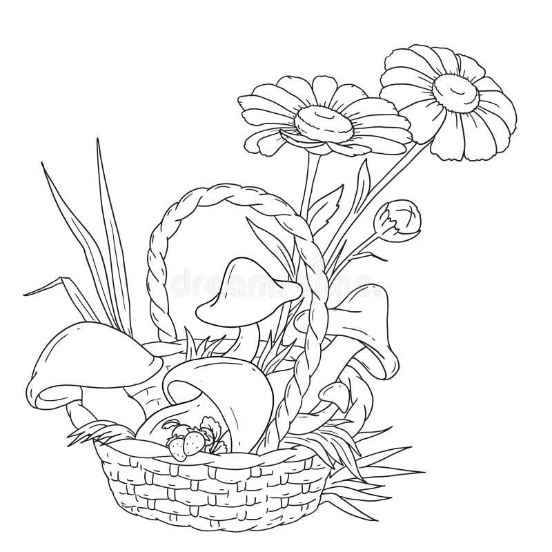 Корзинка с грибами картинки для детей для раскрашивания