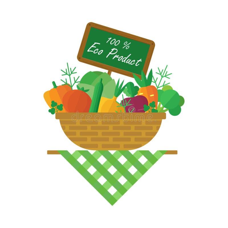 Корзина с овощами урожая бесплатная иллюстрация