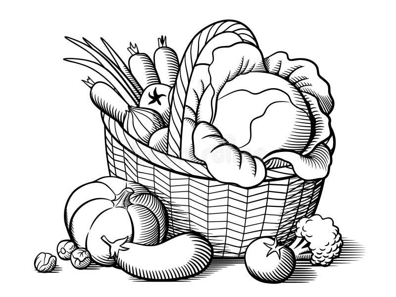 Корзина с овощами иллюстрация вектора