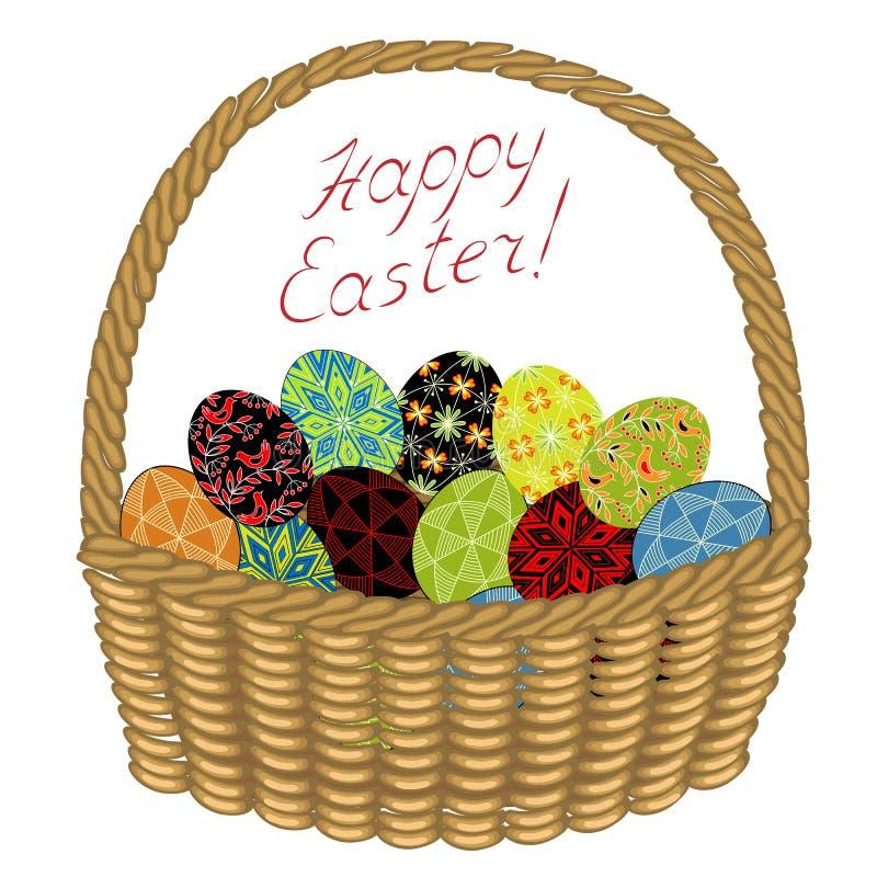 Корзина с пасхальными яйцами с покрашенными орнаментами Поздравления на пасхе Старая традиция людей r иллюстрация вектора
