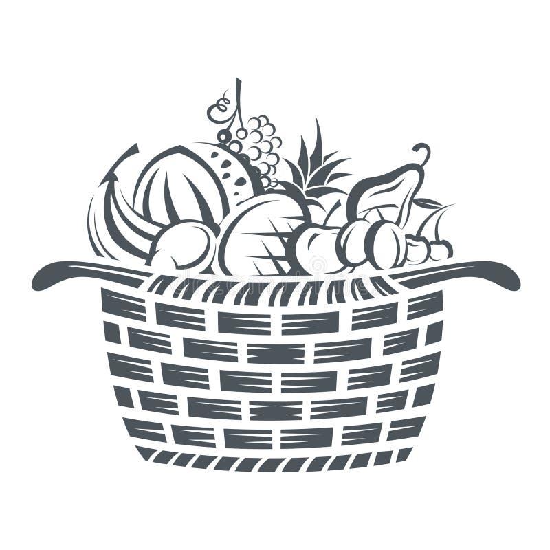 Корзина с плодоовощами бесплатная иллюстрация
