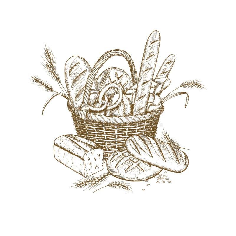 Корзина хлеба иллюстрация вектора
