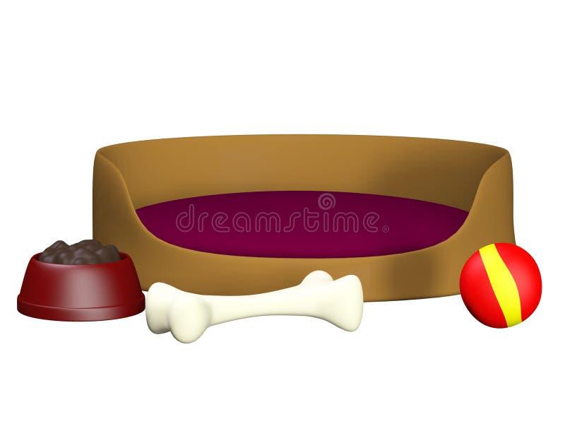 Корзина, шарик, шар и косточка собаки иллюстрация вектора