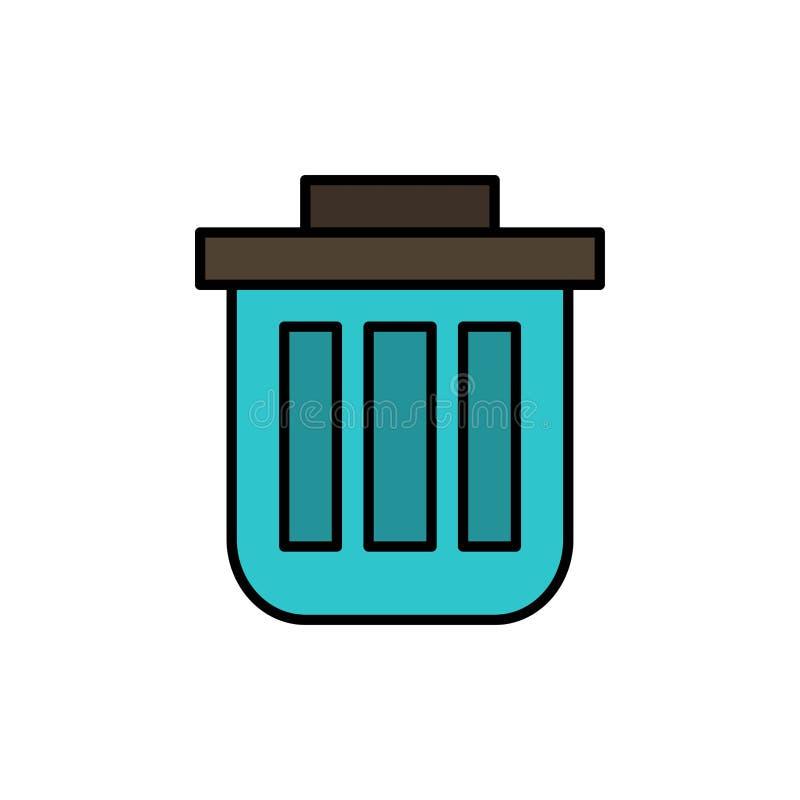 Корзина, корзина, ячейка, контейнер, контейнер, Dustbin, значок цвета Office Flat Шаблон баннера значка вектора бесплатная иллюстрация
