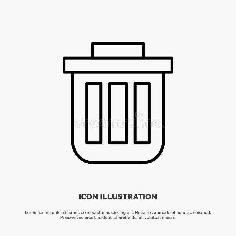Корзина, корзина, ячейка, контейнер, Dustbin, Office Line Icon Vector иллюстрация вектора
