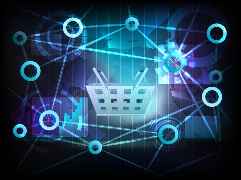 Корзина для товаров в векторе сети переноса мира дела иллюстрация вектора