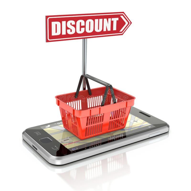Корзина для товаров на smartphone бесплатная иллюстрация