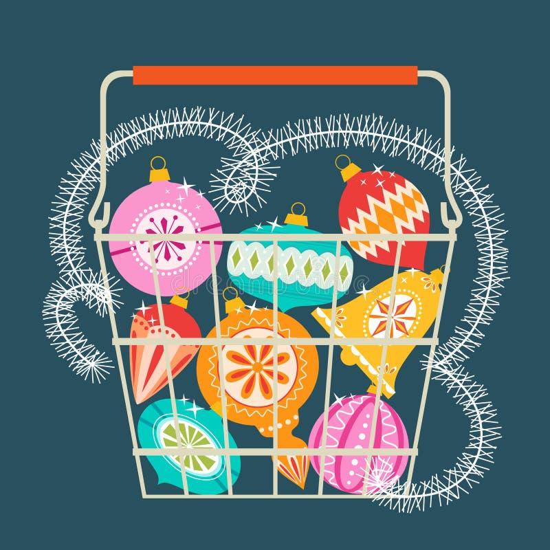 Корзина для товаров рождества бесплатная иллюстрация