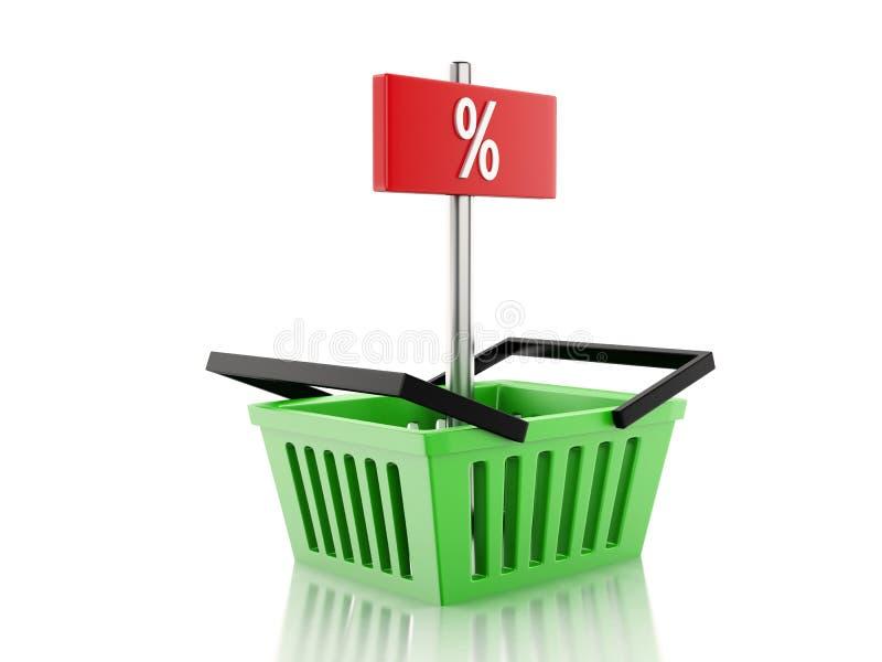 корзина для товаров 3d и знак процентов на белой предпосылке иллюстрация вектора