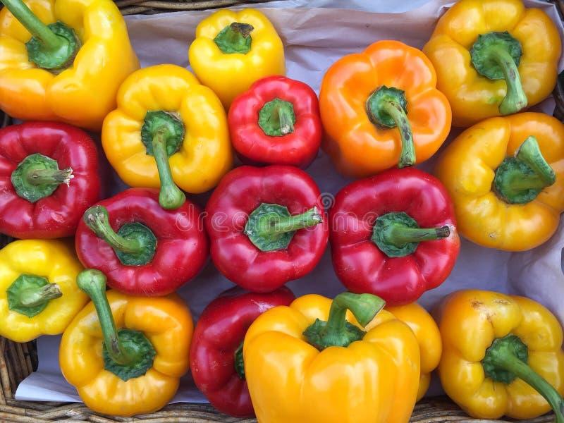 Корзины стойла рынка вполне красочных болгарских перцев стоковая фотография