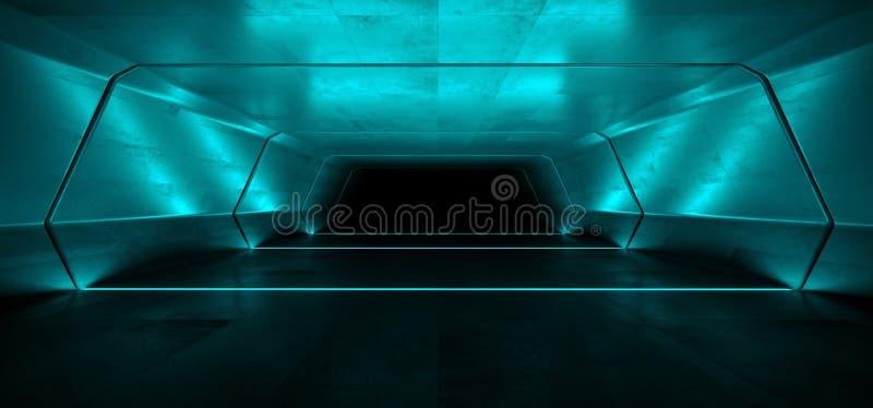 Коридора тоннеля Grunge футуристического космического корабля Sci Fi виртуальная белая голубая кинематографическая накаляя темнот иллюстрация штока