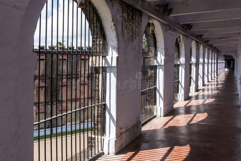 Коридор в клетчатой тюрьме, Port Blair стоковые фото