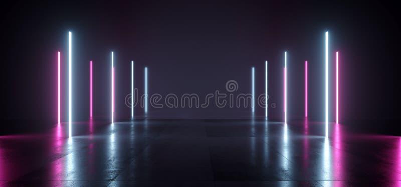 Коридор Stargate тоннеля прихожей темной комнаты космоса вертикали лазерных лучей неоновых свет Sci FI футуристический пурпурный  бесплатная иллюстрация