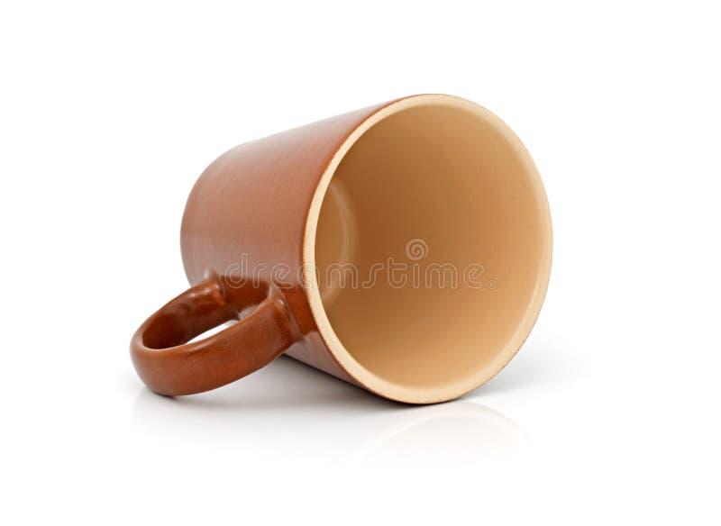 коричневая керамическая чашка стоковое фото rf