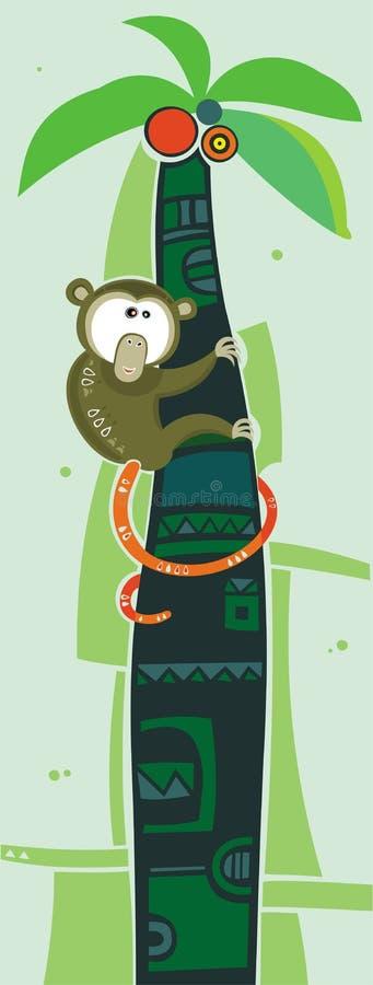 коричневая пальма обезьяны иллюстрация вектора
