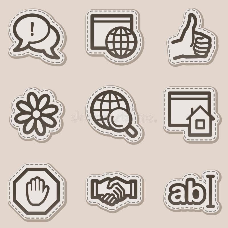 коричневая сеть стикера серии интернета икон контура