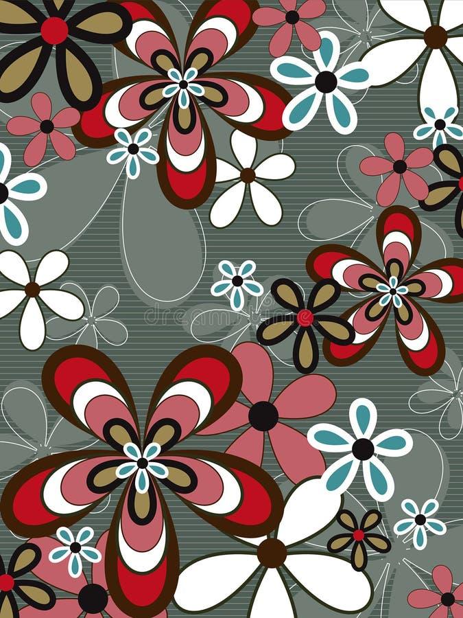 коричневая сила пинка цветка ретро иллюстрация штока