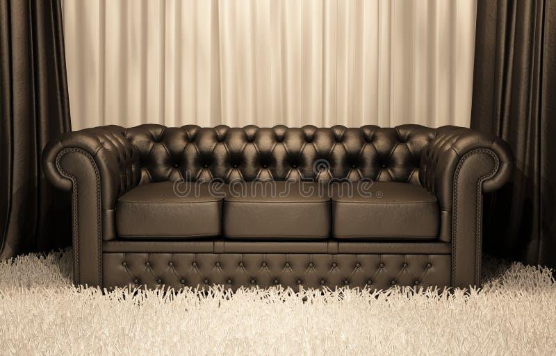 коричневая софа chester нутряная кожаная роскошная иллюстрация вектора