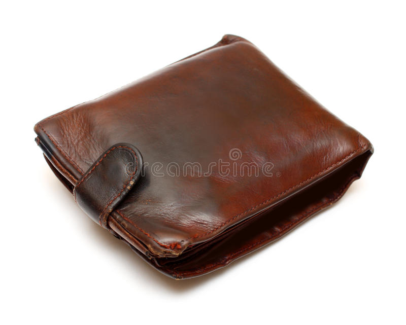 коричневое кожаное старое портмоне стоковое изображение rf