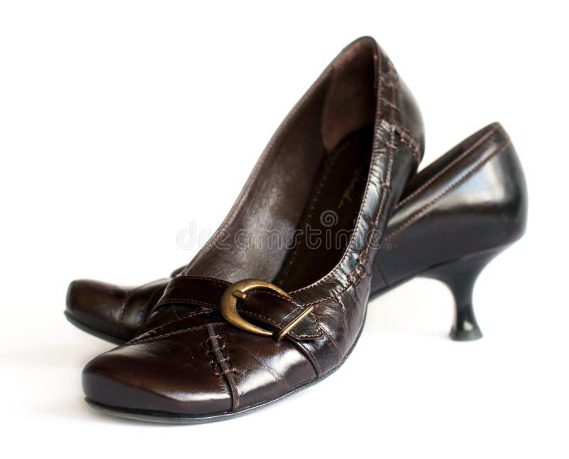 коричневые ботинки пряжек стоковое фото rf