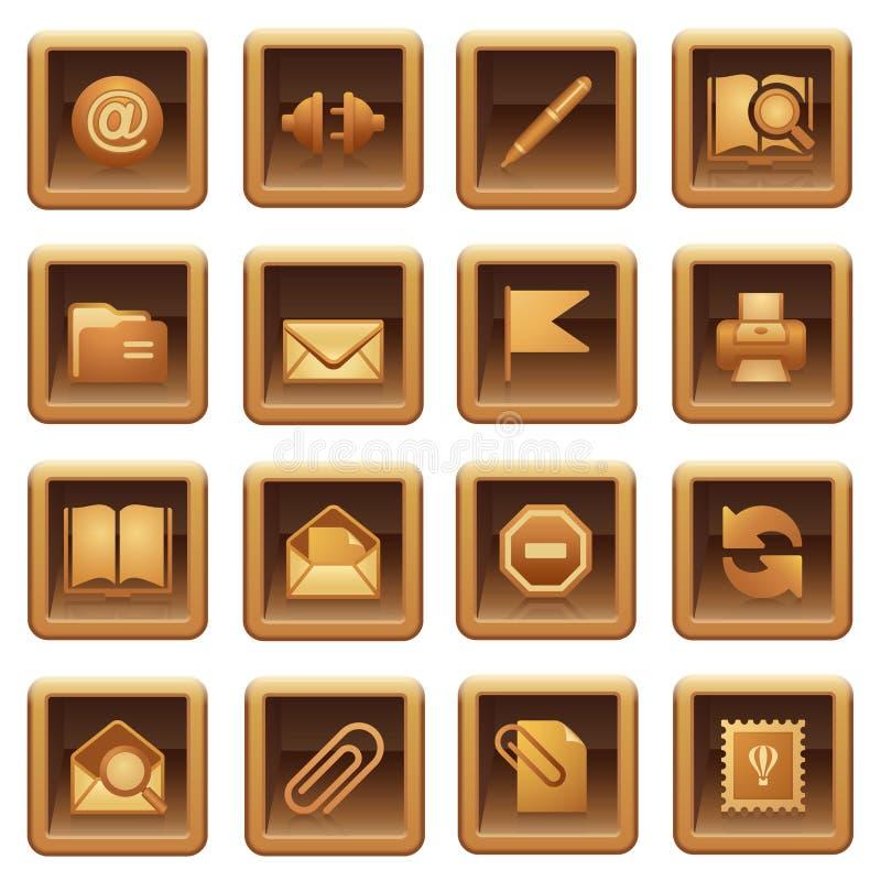 коричневые иконы пересылают серии иллюстрация штока