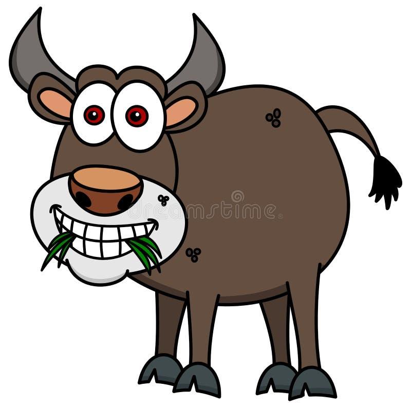 Коричневый бык есть траву иллюстрация вектора