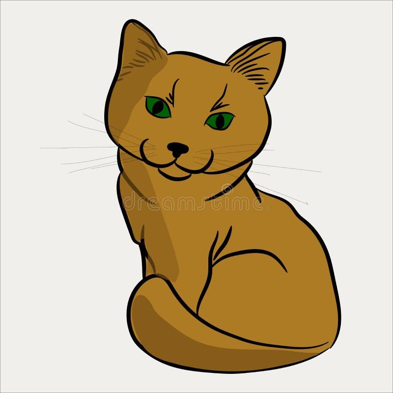 Коричневый дам-кот сидит улыбки славно иллюстрация штока
