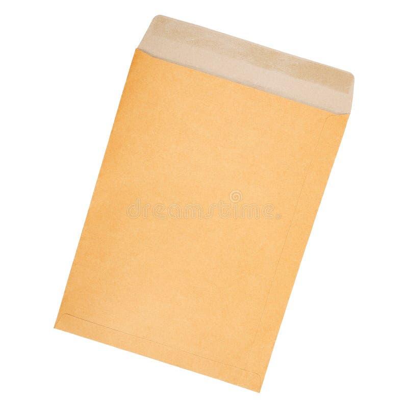 коричневый конверт печатного документа изолированный на белизне стоковое изображение